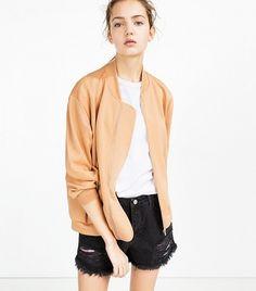 Zara Satin Stretch Bomber Jacket