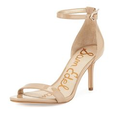 "Patti patent naked sandal by Sam Edelman. Sam Edelman patent faux-leather (polyurethane) sandal. 3"" covered heel. Thin strap bands open toe..."