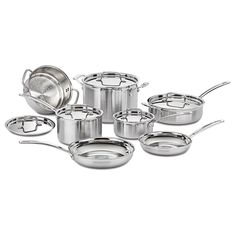 This cookware set from Cuisinart is made from durable 18/8 stainless steel with triple-ply construction for even heat distribution. These pots, pans and skillets have convenient non-stick surfaces for easy cooking and cleanup.