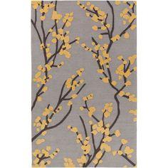 Marigold Caroline Gray and Yellow and Slate Rectangular: 2 Ft. x 3 Ft. Area Rug