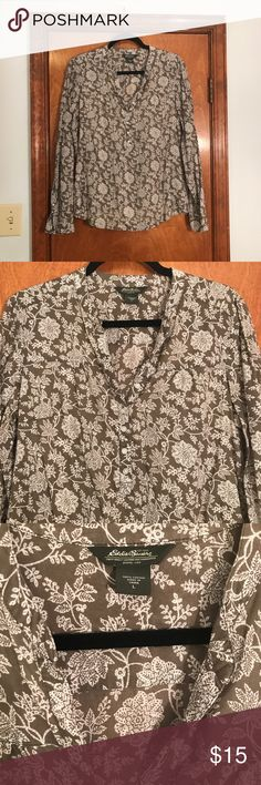 Eddie Bauer women's size large Blouse! Eddie Bauer, women's size large, very light - Blouse like, not completely a button down - just top half, flower design, long sleeve, perfect condition :) Eddie Bauer Tops Blouses