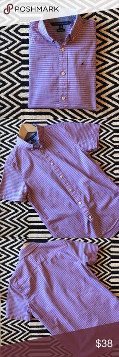 Tommy Hilfiger New York Fit short sleeve shirt Like new condition. Tommy Hilfiger short sleeve button down shirt. Size XS. Style: New York Fit. 100% cotton. Measurements pictured. Tommy Hilfiger Shirts Casual Button Down Shirts