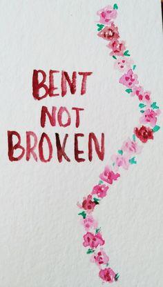{bent not broken} Orginal art by euphoric tangles. @euphorictangles on Instagram. www.euphorictangles.wordpress.com Scoliosis awareness