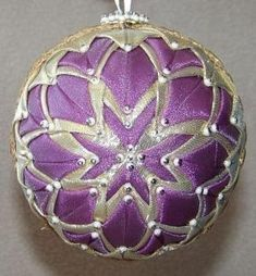 Handmade Quilt Quilted Star Ball Christmas Ornament by jan