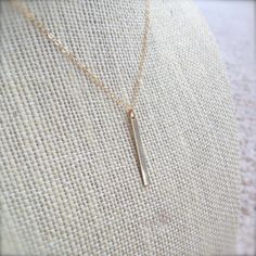 Dainty Vertical Gold Bar Necklace - 14K Gold Filled - Minimalist Jewelry - Layering Necklaces by MuffyandTrudy on Etsy