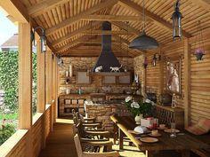 Terraza exterior, para desayunar, almorzar o simplemente disfrutar del paisaje. Predomina la luminosidad natural, con decoración en madera y lámparas de color negro.