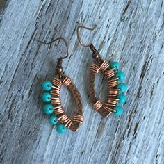 Wrapped Turquoise Copper Oval Earrings - Bronze Boho Earrings - Wrapped Czech Glass Hammered Copper