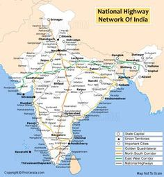 National Highways in India - Golden quadrilateral, North-South and East-West corridor Indian River Map, Indian Road, India World Map, India Map, Highway Map, General Knowledge Facts, Gernal Knowledge, Road Trip Map, Geography Map