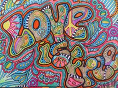 """""""Love is Free"""" Singleton Hippie Art Original by justgivemepeace on Etsy."""