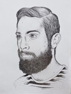 Illustration Drawing Fineliner Man  Beard Marleen Annema Minerva