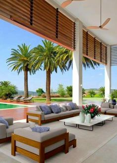 Contemporary outdoor furniture yards 17 Ideas for 2019 Terrace Design, Patio Design, Exterior Design, Home Design Decor, Home Interior Design, House Design, Contemporary Outdoor Furniture, Outdoor Living Rooms, Spanish House