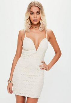 266ad0ba50c Nude Strappy V Bar Lace Plunge Bodycon Dress