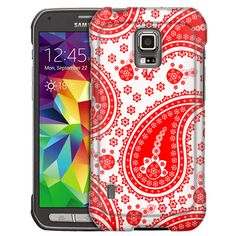 Samsung Galaxy S5 Active Fun Paisley Red on White Slim Case