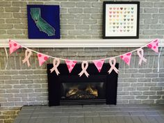 Breast Cancer Ribbon Felt and Cotton Bunting by BuntingSeason