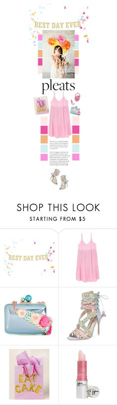 """Party Time"" by mmk2k ❤ liked on Polyvore featuring Reception, MANGO, Sophia Webster, Francesca's, It Cosmetics, Too Faced Cosmetics, Summer, dress and pleats"