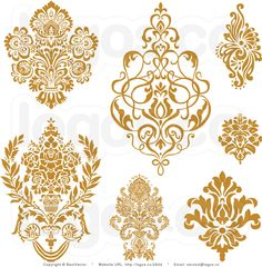 Royalty Free Collage of Gold Damask Elements