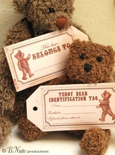 Free Printable Vintage Teddy Bear Tags and Teddy Bear Party Ideas from B.Nute productions