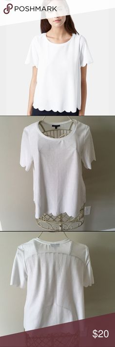 """Topshop Scallop Frill Tee - White - Size 8 Topshop Scallop Frill Tee - White - Size 8. Scallops along the sleeves and hem make a fun, feminine update to this slightly boxy and cropped tee cut from delicate, light fabric. 22"""" length (size 8) Short sleeves Semi-sheer; base layer recommended 100% polyester Machine wash, line dry 19.5"""" across.  EUR 40, US 8, UK 12. Fits like a US 6-8.  Excellent used condition.  From a smoke free home. Topshop Tops Blouses"""