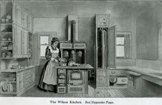 1910 kitchen,  What catch my eye was the open end caps on the cabinets.  Could use for utility, for decor or cookbooks.
