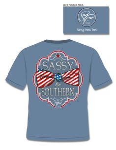Sassy Frass Comfort Colors Sassy & Southern USA Flag Bow Girlie Bright T Shirt