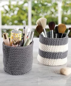 This Gray & Ivory Mini Vanity Knit Bin - Set of Two by InterDesign is perfect! #zulilyfinds