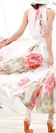 This floral dress looks like a watercolor and flows so beautifully with movement.