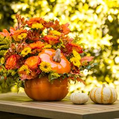 Warm Fall Wishes of orange roses, burgundy and yellow cushion chrysanthemums and oak leaves, hand-delivered in a ceramic pumpkin vase. Halloween Flowers, Fall Halloween, Oak Leaves, Autumn Leaves, Pumpkin Vase, Fall Mums, Yellow Cushions, Fall Bouquets, Chrysanthemums