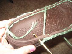 CROCHET--- Old crocs into crochet boots