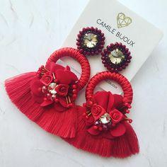 Shibori, Tassels, Beading, Earrings, Jewelry, Soutache Jewelry, Ear Studs, Star, Stud Earrings