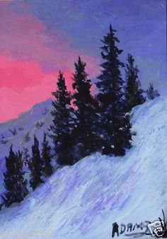 d8b7d1f87af An original winter sunset painting by Pat Adams. You can find my available  paintings at  www.bonanza.com booths NaturesViews