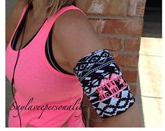 Cell phone armband for jogging stretch by SayLaVeePersonality