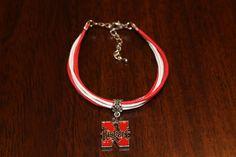 Nebraska Cornhuskers Bracelet UNL Huskers Go Big Red - Free Shipping by BrunosBling on Etsy