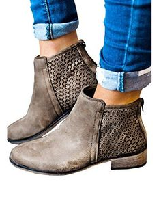 42d0ca0dd80f Shop a great selection of Huiyuzhi Womens Chunky Stacked Low Heel Ankle  Booties Side Zipper Western Boots Shoes. Find new offer and Similar  products for ...