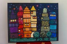 Fabric Mosaic, City Version prototype: Fabric scraps, acrylic, three-dimensional paint, ModPodge (Michelle Taylor) Mosaic Art, Mosaics, Darning, Mug Rugs, Fabric Art, Fabric Scraps, Three Dimensional, Fiber Art, Quilts