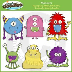 """Our Monsters collection includes all the images shown in the sample picture (6 images)  Graphics come in JPEG and PNG format 300 dpi format.  My graphics are suitable for printing and digital projects and can be easily re-sized smaller to suit other needs, graphics measure up to approx 7"""".  Original Artwork by Scrappin Doodles ©Scrappin Doodles  Key Words: monster, monsters, goblins, aliens, cute, clip art, clipart, card making graphics, paper crafting graphics, illustrations  My Terms of…"""
