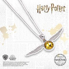 Not equipped with the speed to catch the golden snitch? Not to worry, with this beautiful sterling silver necklace, embellished with Swarovski® crystals, the snitch can still be yours. Pair this beautiful necklace with your stylish daytime looks. Golden Snitch, Harry Potter Characters, Necklace Online, Beautiful Necklaces, Sterling Silver Necklaces, Swarovski Crystals, Stylish, Outfits, Accessories