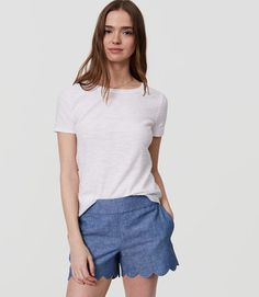Shop Now - > https://api.shopstyle.com/action/apiVisitRetailer?id=631415336&pid=uid6996-25233114-59 Scalloped Chambray Shorts ...