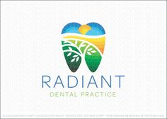 Logo Sold: Dental practice logo design for sale. Colorful shades of green, yellow and blue representing rolling hills, sunrise, sky and clouds to create the impression of a dental tooth. A beautiful growing tree is emerging from the center of the tooth.