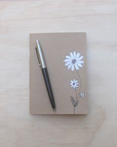 A6 blank notebook white flower illustration by EOKleather on Etsy