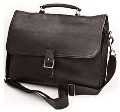 Soft Leather Man's 15-inch Laptop Business Briefcase Messenger Bag (Brown)