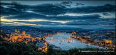 Budapest city vista from Gellert Hill at sunset Budapest City, Budapest Travel, What A Wonderful World, Prague, Beautiful Landscapes, Hungary, Wonders Of The World, Travel Photography, Adventure