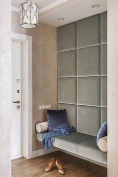 Lobby Design, Modern Entryway, Modern Bedroom, Fabric Wall Decor, Fabric Walls, Decoration Hall, Upholstered Wall Panels, Wall Headboard, Flur Design