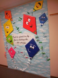Discover thousands of images about Christian Bulletin Board, March. Kites, Wind, Don't Be Afraid To Fly God Is Holding The Kite Strings, Pimary Colors Religious Bulletin Boards, Christian Bulletin Boards, Summer Bulletin Boards, Church Bulletin Boards, March Bulletin Board Ideas, Butterfly Bulletin Board, Sunday School Rooms, Sunday School Classroom, Sunday School Crafts