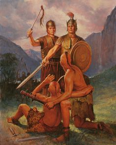 Captain Moroni defeats Zarahemna.  Painting by Del Parson.