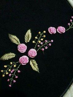 Embroidery On Kurtis Hand Embroidery Stitches Hand Embroidery Designs Embroidery Dress Embroidery Patterns Brazilian Embroidery Meraki Jelsa Blouse Designs Bullion Embroidery, Floral Embroidery Patterns, Hand Embroidery Videos, Embroidery Flowers Pattern, Flower Embroidery Designs, Japanese Embroidery, Rose Embroidery, Hand Embroidery Stitches, Silk Ribbon Embroidery
