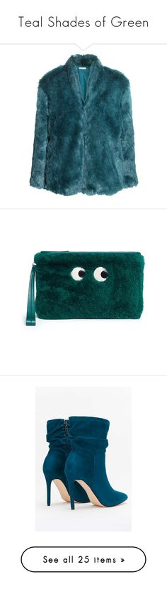 """""""Teal Shades of Green"""" by greensparkle1 ❤ liked on Polyvore featuring bags, handbags, clutches, green, zip top purse, green handbags, pouch purse, anya hindmarch pouch, shearling purse and shoes"""