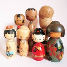 Kokeshi dolls group. All vintage kokeshi, from Japan . . .