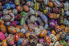 Painted eggs are decorated by various techniques before Easter.The imitation of painted eggs are made of wood on the picture,covered by lacquer and ornamented by miniature painting which is orgin from the Russian art. In Poland the tradition has become rooted and nowadays, painted eggs are the part of people`s tradition in some of the Polish regions.