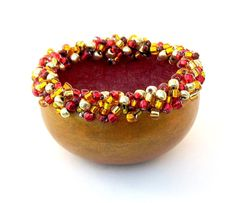 Beaded Bowl Mini Gourd Gold with Gold & Red by midnightcoiler
