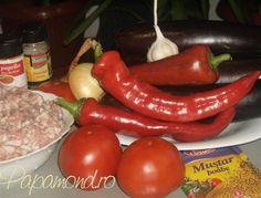 ingrediente musaca turceasca Sausage, Stuffed Peppers, Meat, Vegetables, Food, Sausages, Stuffed Pepper, Essen, Vegetable Recipes